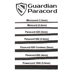 Таблиця розмірів шнурів Guardian Paracord